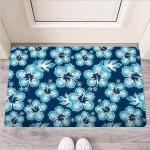 Blue Hibiscus Hawaiian Print Funny Outdoor Indoor Wellcome Funny Outdoor Indoor Wellcome Doormat