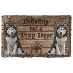 3D Definitely Not A Trap Door Husky Doormat