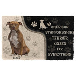 3D American Staffordshire Terrier Kisses Fix Anything Custom Name Doormat