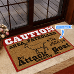 Goat Caution Area Patrolled Funny Outdoor Indoor Wellcome Doormat