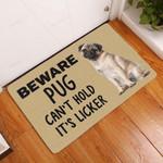 Beware Pug Cant Hold Licker Doormat  Welcome Mat