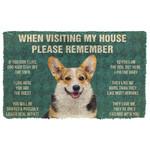 3D Please Remember Corgi Dogs House Rules Doormat