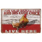 Alohazing 3D An Old Rooster And His Cute Chick Live Here Doormat