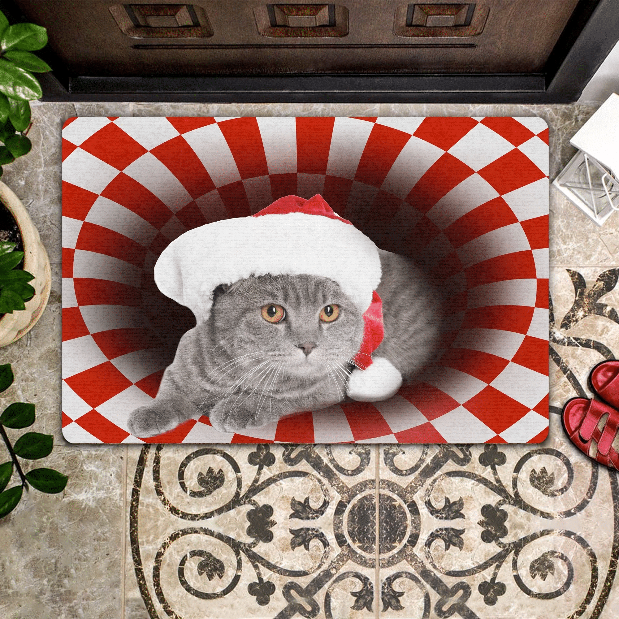 Cat Lovers  Door Mat Scottish Fold Christmas