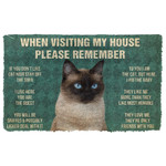 Alohazing 3D Please Remember Siamese Cat House Rules Doormat