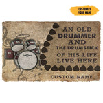3D An Old Drummer And The Drumstick Of His Life Custom Name Doormat