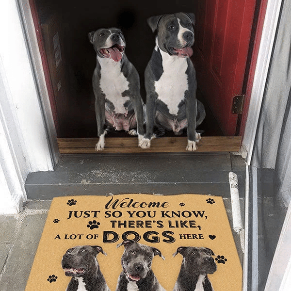 Dog Lovers Door mat Pit Bull A Lot Of Dogs Here