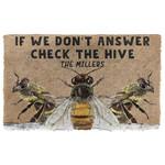 3D Check The Bee Hive Custom Name Doormat