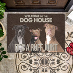Pitbull Lovers  Door Mat Welcome To The Dog House