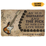 3D An Old Bass Guitarist And The Pick Of Her Life Custom Name Doormat
