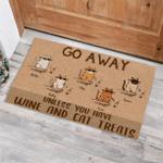 Cool Cat Go Away Unless You Have Wine And Cat Treats Funny Outdoor Indoor Wellcome Doormat