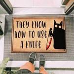 Black Cat Holding Knife Funny Outdoor Indoor Wellcome Doormat