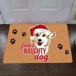 Feliz Naughty Dog Corgi Doormat Christmas Decor