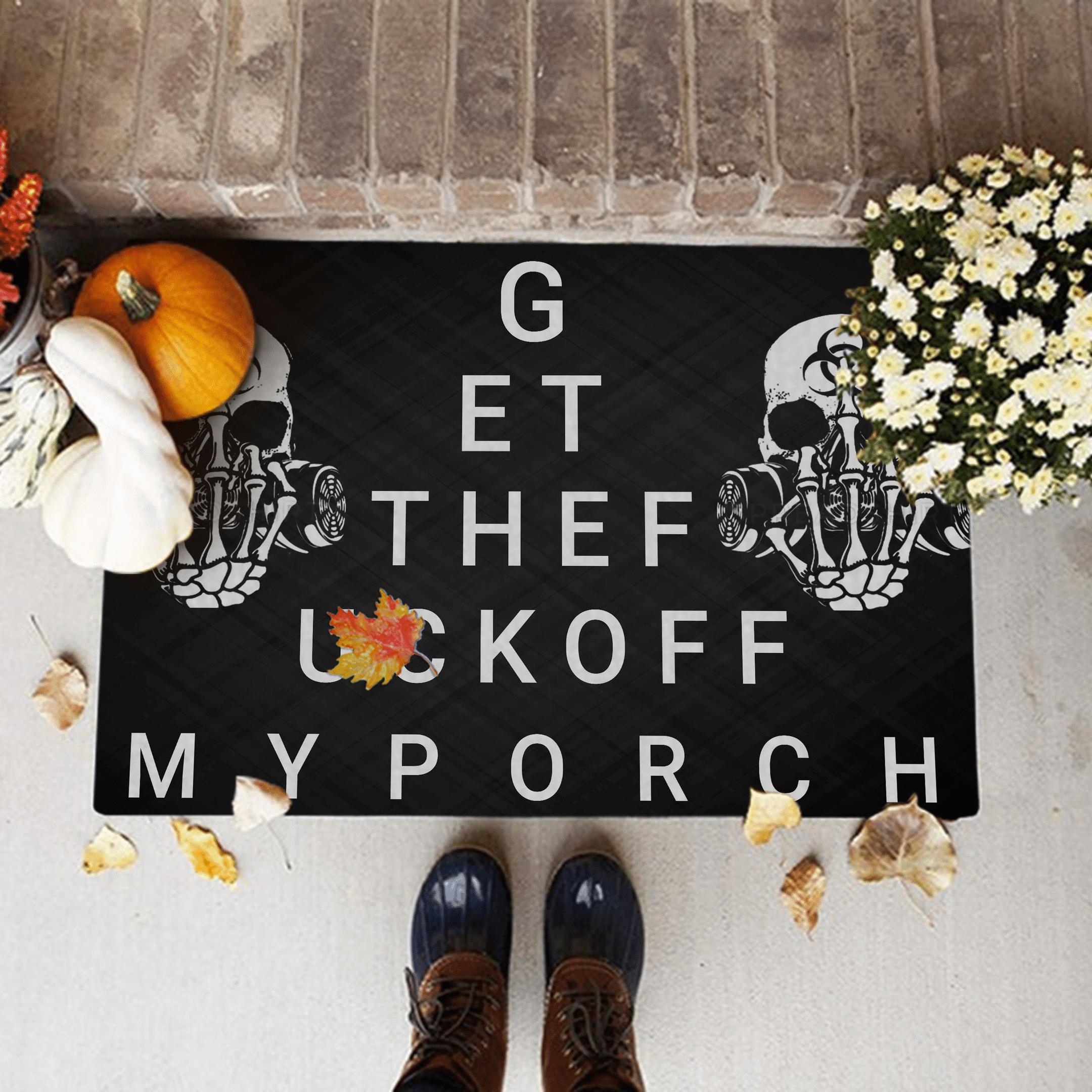 Funny Door mat Skull Get Off My Porch