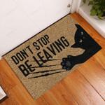 Dont Stop Black Cat Doormat  Welcome Mat