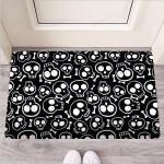 Black Cartoon Skull Funny Outdoor Indoor Wellcome Funny Outdoor Indoor Wellcome Doormat
