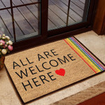 All Are Welcome Here - LGBT Doormat  Welcome Mat  House Warming Gift