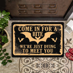 Come In For A Bite Were Just Dying to Meet You - Bat Doormat  Welcome Mat  House Warming Gift