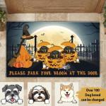Dog Lovers Personalized Door Mat Please Park Your Broom At The Door Funny Halloween Decoration