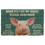 3D Please Remember Pigs House Rule Custom Doormat