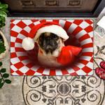 Dog Lovers  Door Mat Pug Christmas