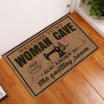 Door Mat Woman Cave Quilting Room
