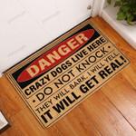 Danger Crazy Dogs Live Here All Over Printing Funny Outdoor Indoor Wellcome Doormat
