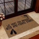 Brought Beer And Fishing Stories Funny Outdoor Indoor Wellcome Doormat