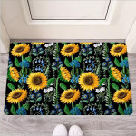 Black Sunflower Floral Funny Outdoor Indoor Wellcome Funny Outdoor Indoor Wellcome Doormat