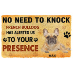 Gearhuman 3D No Need To Knock French Bulldog Dog Custom Name Doormat