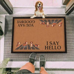 Beagle Dog I Say Hello Brown Funny Outdoor Indoor Wellcome Doormat