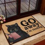 Black Cat - Go Away Im Reading Doormat  Welcome Mat  House Warming Gift