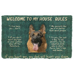 3D German Shepherd Welcome To My House Rules Custom Doormat