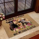 Kinda Classy But We Cuss A Little Cow Coir Pattern Print Doormat