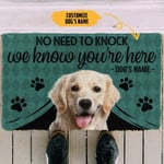 Labrador Retriever We Know Youre Here Personalized Doormat DHC04062096