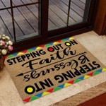 Stepping Out On Faith Stepping Into Blessings African American Coir Pattern Print  Doormat