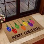 Merry Christmas Skull Coir Pattern Print Doormat DHC05061739