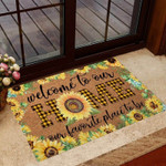 Welcome to our Home Sunflower Coir pattern print Doormat