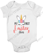 Personalized My 1st Easter 2021 Unicorn Bunny Baby Onesie