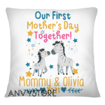 Our First Mother's Day Together Zebras Personalized Pillow