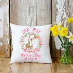 Our First Mother's Day Together Giraffes Personalized Pillow