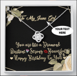 To My June Girl Love Knot Necklace Custom Name