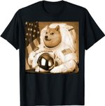 Dogecoin Moon Astronaut Cryptocurrency Shiba Inu Meme T-shirt