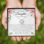 To My Daughter On Your Wedding Day Personalized Love Knot Necklace