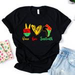 Peace Love Juneteenth T-shirt