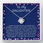 To My Daughter I Love You Now And Forever Love Knot Necklace