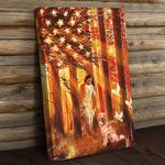 Jesus Walking With The Golden Retriever American Flag Wall Art Poster Canvas