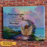 Don't Cry For Me. I'm Ok! I Can Run Like A Puppy! I Can Even Fly With My New Wings! Pet Memorial Personalized Wall Art Horizontal Poster Canvas