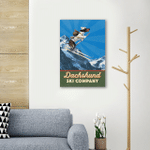 Dachshund Ski Company Wall Art Vertical Poster Canvas