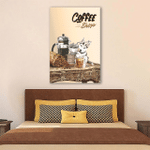 Husky Drink Coffee In Coffee Shop Wall Art Vertical Poster Canvas